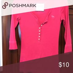 Three quarter sleeve button down Hot pink with buttons in front Abercrombie & Fitch Tops Tees - Short Sleeve