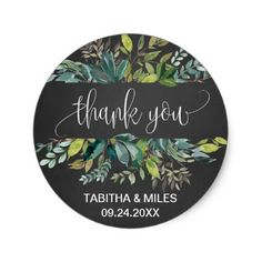 #Chalkboard Foliage Thank You Favor Classic Round Sticker - #birthday #gifts #giftideas #present #party