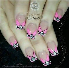 Argyle pink and white nails...with a lil bling  :)