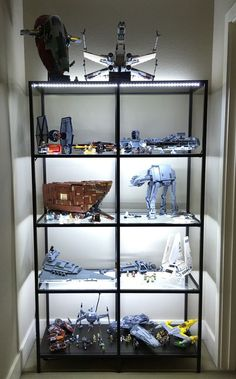 shelf for Lego Star Wars collection! I built an LED-enhanced shelf for my Lego Star Wars collection!I built an LED-enhanced shelf for my Lego Star Wars collection! Lego Display Shelf, Lego Shelves, Lego Storage, Storage Shelves, Shelving, Glass Shelves, Storage Ideas, Vitrine Pour Collection, Vitrine Lego
