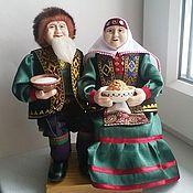 Куклы в башкирском костюме, бабушка и дедушка, башкирские куклы.