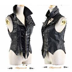 Men Women Black Studded Faux Leather Cyber Punk Biker Clothing Vests SKU-11401154
