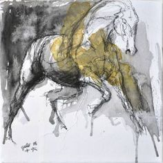 Black Chalk and Watercolor - Galop Horse Animal Modern Original Fine Art by benedictegele Watercolor Canvas, Watercolor Animals, Acrylic Painting Canvas, Abstract Horse Painting, Art Paintings For Sale, Horse Paintings, Horse Sketch, Horse Drawings, Equine Art