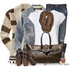 """""""Striped Cardigan"""" by angkclaxton on Polyvore"""