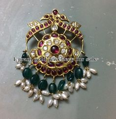 Indian Jewellery Designs: Detachable Sliver Peacock Pendant With Beds Chain