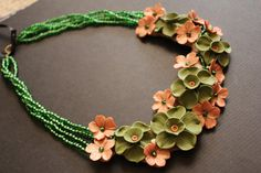 Cactus Flower - OOAK polymer clay statement necklace by Etsy seller MittiDesigns.
