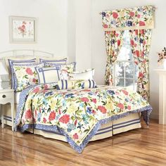 Brighten up your bed with the eye-catching Waverly Charmed Reversible Comforter Set. Decked out in a meandering floral vine with stylized peonies and genteel sweet birds, the colorful bedding is a lively addition to your bedroom. Waverly Bedding, Comforter Sets, Reversible Bedding, Bedding Sets, Bed, Furniture, King Comforter Sets, Comforters, Bedding Collections