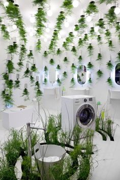 The Green Bathroom...Green Waters exhibit by Patrick Nadeau for LG Hausys, Paris exhibit design eco #exhibitdesign #boothstand #tradeshow