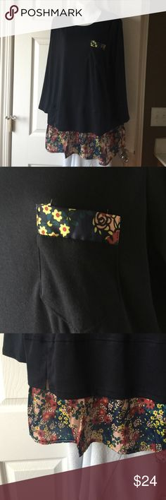 """Tunic Ladies navy blue tunic with floral trim. 31.5"""" from shoulder to hem. Brand new! Never worn! Zhuoruifs Tops Tunics"""