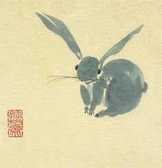 kosshi: Under the Blade 2011 Japanese Painting, Chinese Painting, Chinese Art, Chinese Brush, Japanese Illustration, Illustration Art, Year Of The Rabbit, Rabbit Art, Bunny Rabbit