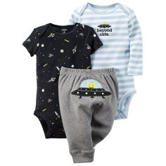 Carters Baby Clothing Outfit Boys 3-Piece Pants Set Beyond Cute Alien, Blue Gray