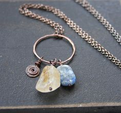 Raw Citrine and Kyanite Copper Necklace Long by RELMoriginals