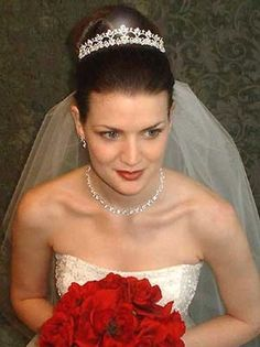 classic bridal updo with crystal tiara and veil