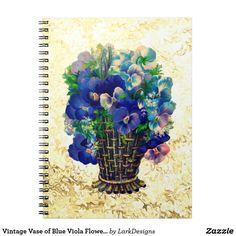 Vintage Vase of Blue Viola Flowers Notebook