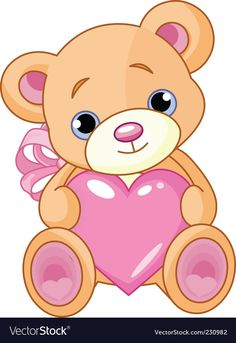 e6f714952 illustration of cute little teddy bear holding pink heart. Teddy Bear  Drawing Easy, Cute