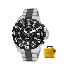 Invicta Men's 13630 Pro Diver Chronograph Black Dial Two Tone Stainless Steel Watch with Yellow Impact Case Invicta. Save 75 Off!. $149.99. Flame-fusion crystal; stainless steel case and bracelet with black ion-plated stainless steel center links. Water-resistant to 100 M (330 feet). Black dial with silver tone and white hands and hour markers; luminous; black ion-plated stainless steel bezel, pushers and crown with protective clasp; large yellow three slotted box included. Chronograph f...