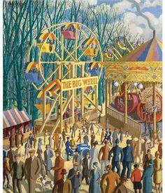 Karl Hagedorn - The Big Wheel, London Village Fete, Big Wheel, County Fair, London Art, Roller Coaster, Carnival, Illustration Art, Germany, Auction