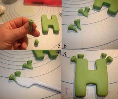 How to make the Lettering in my Donkey Cake Make a suitable green coloured gumpaste, I used white with a small amount of satin Ice Green & Yellow added to it Using any letter cutter, cut out your letter, smooth edges roll a small pea. Fondant Numbers, Fondant Letters, Cake Decorating Techniques, Cake Decorating Tutorials, Shrek Cake, 4 Tier Wedding Cake, Cake Writing, Character Cakes, Biscuits