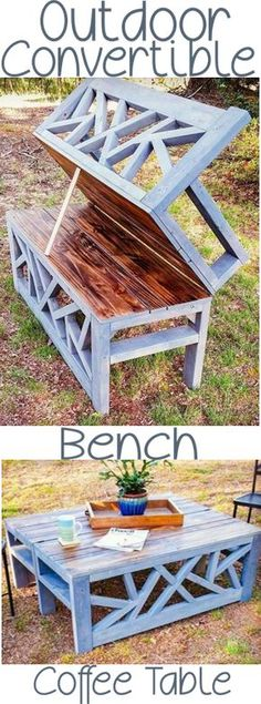 HOW TO: DIY Outdoor coffee table bench convertible ana white