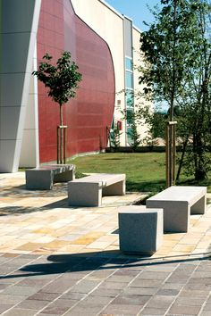 Modern granite or marble bench suitable for any urban or commercial area. #SarahBench #UrbanEffects #StreetFurniture #OutdoorFurniture #Marble #Granite #Seating