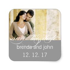 Simple Gray Photo Save the Date Wedding Sticker