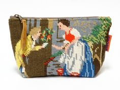 Handmade vintage needlepoint zippered pouch.