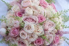 Creamy Vendela Roses and soft pink Roses to create a formed Bouquet, By Lily King Weddings