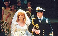 Prince Andrew (later the Duke of York) and his bride Sarah Ferguson after their wedding at Westninster Abbey