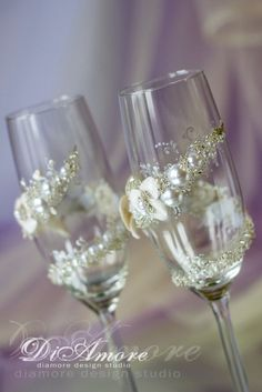 Wedding Handmade Champagne Glasses from the collection of Little Оrchid / White and Brilliant Wedding/personalized toasting flutes/2pcs/