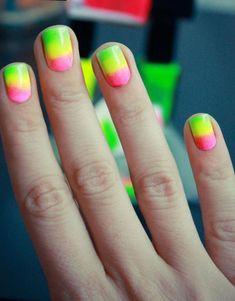 Summer Nial Art Bright Orange Nails, Neon Yellow Nails, Yellow Nails Design, Pink Design, Sexy Nail Art, Sexy Nails, Finger Nail Art, Nail Design Video, Hair Skin Nails