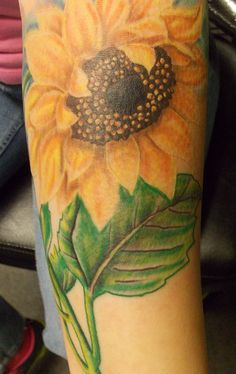 Realistic Color Sunflower Tattoo (maybe a sunflower with two Ms on each side for Mom)