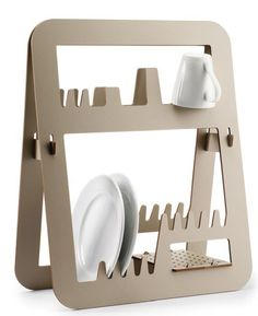 Designed by Barcelona-based Ernest Perera for Delica, the Aurea is a solid, space-saving dish rack for drying out your kitchen dishes. I love the simple, stylish design of this melamine resin drainer,. Regal Design, 3d Design, Rack Design, Modern Design, Graphic Design, Dish Drainers, Cnc Projects, Woodworking Projects, Dish Racks