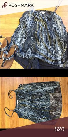 Snake Skin Printed Tank w Spaghetti Straps #A7C_10 Great top paired with a jacket or jeans.  Shell: Polyester Lining: Rayon New York & Company Tops Blouses