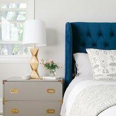 Emily Henderson - bedrooms - Benjamin Moore - Gauntlet Gray - blue velvet headboard, blue wingback headboard, blue velvet wingback headboard...