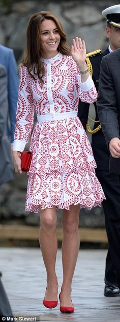 For her second outfit of the tour, Kate chose a striking embroidered £4,000 dress from Alexander McQueen