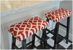 saddle stools shortened and with cushions added-love the fabric.I love the little ways to add more color and pattern to a room.  a LO and behold life: Repurposed Kitchen Stools
