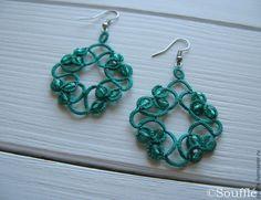 Кружевные серьги изумрудного цвета с кристаллами - зеленый,изумрудный