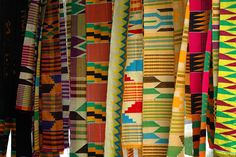 Kumasi, my home in the 60's.  Don't remember much and my sister was born here.  Kente Cloth Traditional textiles at the art center in Kumasi.