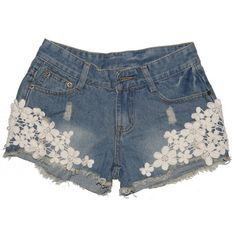 Casual Vintage Womens Lace Flower Jean Shorts Short Pant Trouser... ($15) ❤ liked on Polyvore featuring shorts, bottoms, pants, vintage denim shorts, jean shorts, denim cut offs, lace jean shorts and lace denim shorts