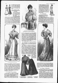 Dinner gown with Art Nouveau influenced paintwork, middle right.   (visit site for bigger picture)  Gracieuse. Geïllustreerde Aglaja, 1907, aflevering 20, pagina 274
