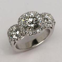 Three stone diamond ring from Oliver Smith Jeweler. Big Diamond Rings, Three Stone Diamond Ring, Halo Diamond, Dream Engagement Rings, Designer Engagement Rings, Bridal Rings, Wedding Rings, Oliver Smith, Fashion Rings