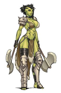 Female Half-Orc Dual Wield Axe Barbarian or Bloodrager - Pathfinder PFRPG DND D&D 3.5 5th ed d20 fantasy