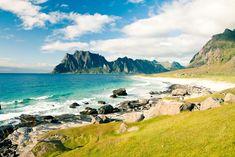 Eggum Beach in Norway jigsaw puzzle Norway Beach, Holidays In Norway, Puzzle Of The Day, Norway Travel, Lofoten, Malang, Finland, Denmark, Sweden