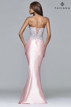 Mikado mermaid skirt with lace appliqué. #Faviana Style S7963