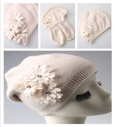 Warm Women Cashmere Blend Knit Hat with Pretty Flower Elegant Knitted  Beanie Hat  fashion   79cd8fe8f9f6