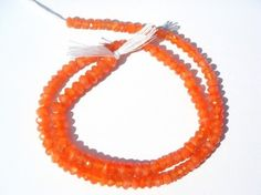 Orange Chalcedony Faceted Roundel  3 to 350 mm  by beadsogemstone, $15.95
