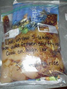 General Tso Crock Pot Chicken 1 lb boneless, skinless chicken breasts, cut into 1 inch cubes 4 tsp minced garlic 3 Tbsp brown sugar 1 tsp ground ginger 2 Tbsp soy sauce tsp crushed red pepper flakes (or more if you like hot) 1 package stir fry veggies. Crock Pot Slow Cooker, Slow Cooker Recipes, Crockpot Recipes, Cooking Recipes, Cooking Tips, Chicken Recipes, Freezer Cooking, Crock Pot Cooking, Freezer Meals