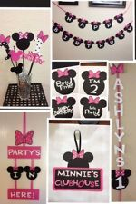 Minnie Mouse Birthday Decorations Banner/Sign/Centerpiece LOT