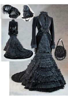 Mourning Dress and accessories. During the Victorian era through the early 20th century, mourning ritual and dress were observed for six months to a year. The etiquette of how to dress, in terms of clothing and jewelry was observed by American and British alike,