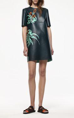 Dark Green Leather Shift Dress by Marni for Preorder on Moda Operandi